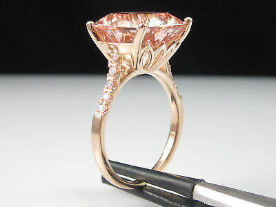 Morganite Diamond Ring 14K Rose Gold Pink Fine Jewelry Cathedral Size 8.25