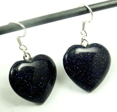 Beautiful Pair Of Heart-shaped Blue sand stone pendant 925 silver Earrings A20