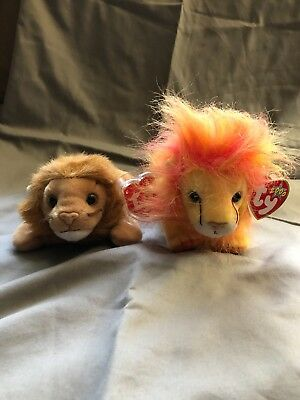 71cbc297bea Ty Beanie Baby Roary The Lion Forced Retirement W Tag Errors (Bushy  Included)