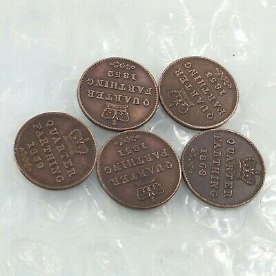 Young Bust Victoria Regina 1839-1868 QUARTER FARTHING 5pcs/lot