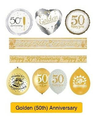 GOLDEN 50th Wedding ANNIVERSARY Party Supplies Banners, Balloons Decorations(1C)