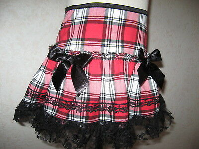 New Baby Girls Red black white Tartan Check lace Skirt Party Gothic Gift 18-24 m