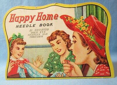 HAPPY HOME Needle Book ~ Advertising Sewing Needle Card