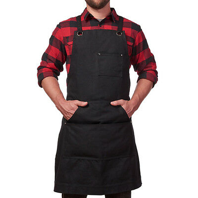 Black Heavy Duty Work Shop Apron With Utility Tool Storage Pockets Men Women Z