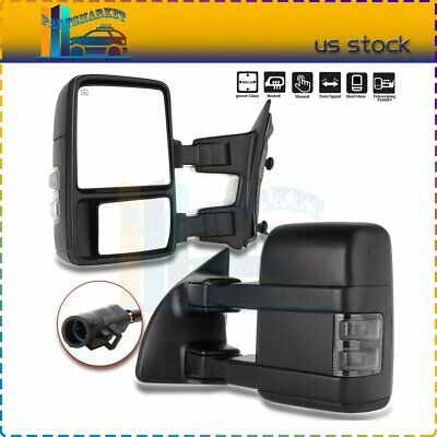 Left+Right Side Mirrors For 99-07 F250-F550 Super Duty Tow Power Heat Led Signal