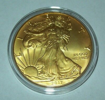 2017 24K Gold Gilded American Silver Eagle 1 Troy Oz. .999 Fine One Dollar Coin