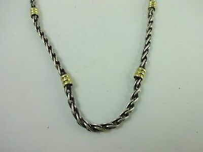 "Sterling Silver 14K Gold Elegant Double Link Chain Necklace 16.75""   13.4 Grams"