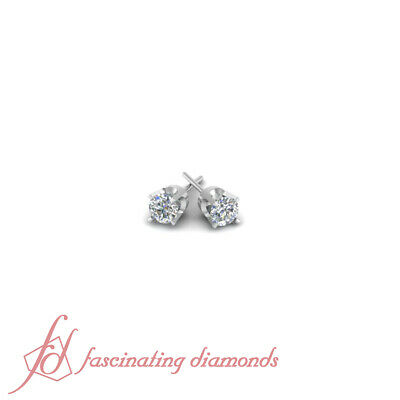 .20 Ct Classic Round Cut Diamond Stud Earrings Prong Set In 14K White Gold