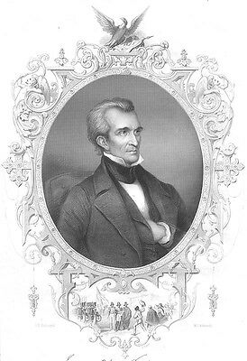 President JAMES KNOX POLK MEXICO AMERICAN WAR ~ Old 1856 Art Print Engraving