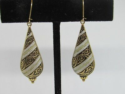 Vintage Damascene Drop Dangle Pierced Earrings Damascene Lot # 8.2723