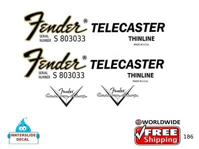 Fender Telecaster Thinline Guitar Decal Headstock Inlay Restoration Logo 186