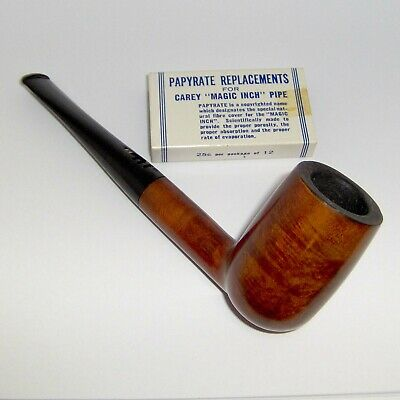 "VINTAGE CAREY ""MAGIC INCH"" IMPORTED BRIAR ESTATE PIPE w/FILTERS PAT. 3267941"