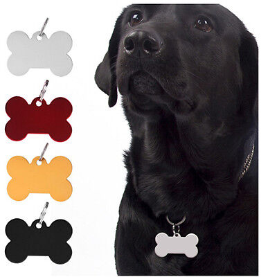 Pet Tags Dog / Cat ID Bone Shaped Engraving Animal Tags Name C&WB WD