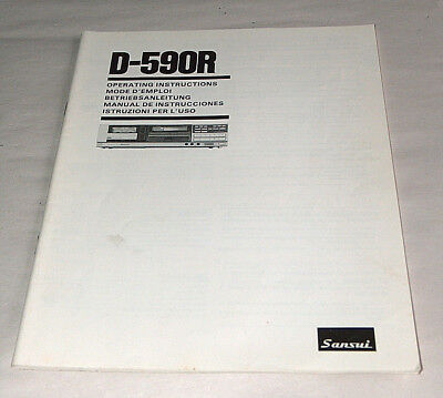 Sansui D-590R Compu Reverse Cassette Deck Operating Instructions Manual Book OEM