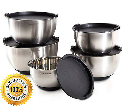 Best Stainless Steel Mixing Bowls With Lids Kitchen 5 Qt Large