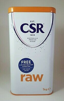 CSR Sugar Tin Collectable 1.0kg Raw Sugar 120mm X 80mm X 225mm