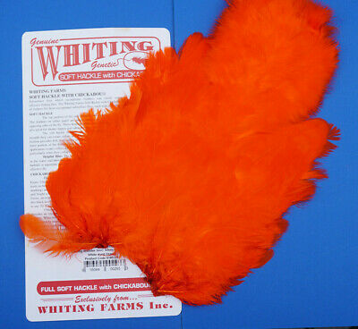 Whiting Softhackle & Chickabou White dyed ORANGE