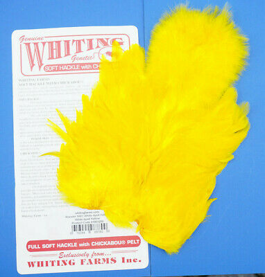 Whiting Softhackle & Chickabou White dyed YELLOW