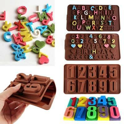 DIY Chocolate Cake Fondant Candy Mold Tool Alphabet Letter Number Silicone Mould