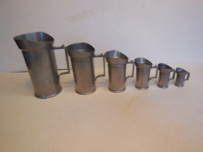 Set of 6 ITALIAN PEWTER MEASURING CUPS - PRICED 2 SELL + FREE SHIPPING