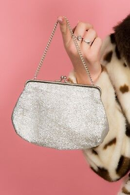 Vintage silver lurex evening bag with silver chain handle 50s 60s 70s