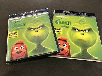 Dr. Seuss The Grinch 4K Ultra HD + Blu-ray + Digital Code Sealed w/ Slipcover