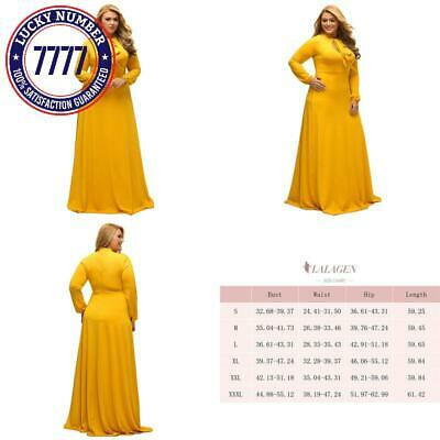 cfc3edac3d9 Lalagen Women S Vintage Long Sleeve Plus Size Evening Party Maxi Dress Gown
