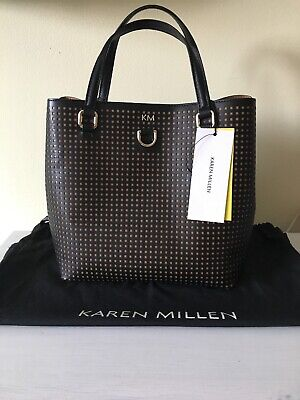 f0ff2eba8d7 Brand New With Tags Karen Millen Black / Brown Small Bucket Bag Perforated  Tote