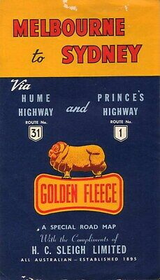 Melbourne to Sydney Via Hume Highway and Prince's Highway MAP Vintage
