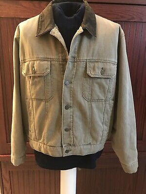 c39ffdf855af4 MENS WOOLRICH BARN Denim Jckt XL VGUC Dark Wheat Leather Collar ...