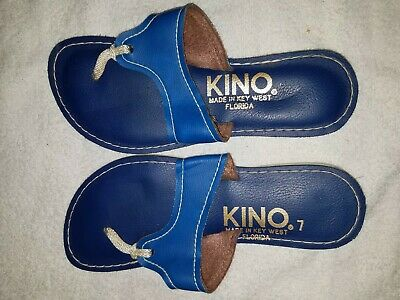 ccd79a80974c KINO Key West Sandals~Ladies Size 7 Thong Flip Flop Style Flats Blue