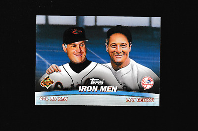 Cal Ripken Jr. 2001 Topps Iron Men Insert With Lou Gehrig Orioles Yankees Greats
