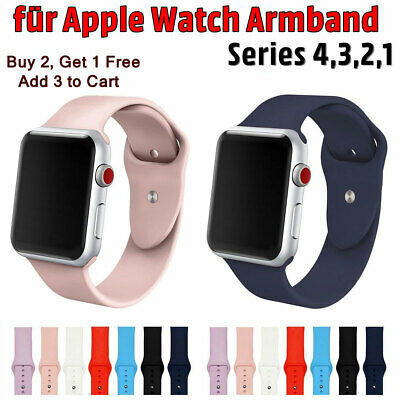 Für Apple Watch Silicone Sport Band Strap Loop Armband Serie 4 3 2 1 38mm 42mm