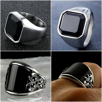 Women Men's Stainless Steel Fashion Punk Round Signet Finger Ring Size 6-10