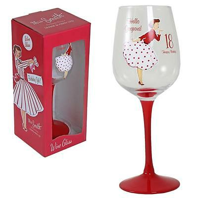 Mrs Smith Vintage Boxed Birthday Wine Glass Red Stem - 18th