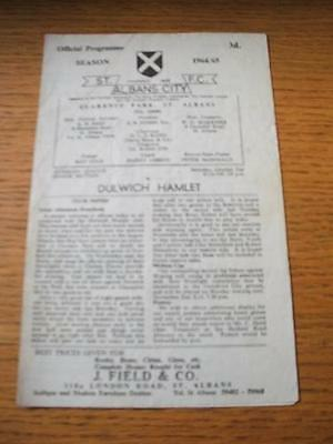 31/10/1964 St Albans City v Dulwich Hamlet  (4 Pages, Creased). No obvious fault