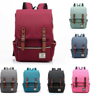 Men Women Shoulder Canvas Backpack Rucksack School Travel Laptop College Bag AU