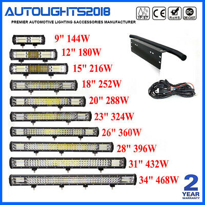 9-34INCH Combo LED Work Light Bar Jeep Truck Boat 3-Row 18'' 20'' 15'' 23''