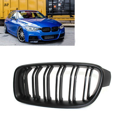1 Pair Matte Black Front Hood Kidney Grill Grille For Bmw 3 Series