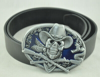 Skull And Rifle Western Cowboy Rattle Snake Rodeo Buckle Genuine PU Leather Belt