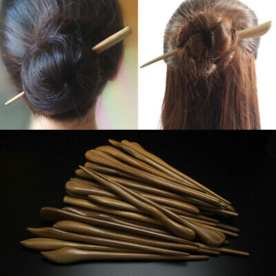 Retro Women Carved Wooden Hair Chopstick Stick Pin Handmade Chinese Japanese