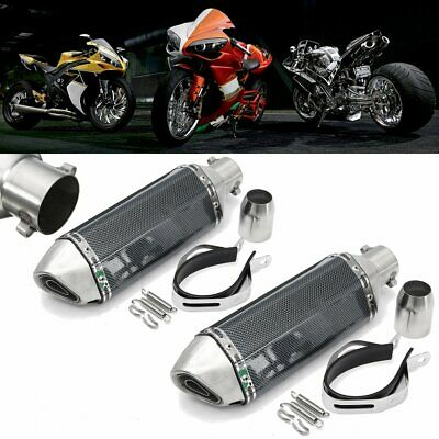 2x 36-51mm Motorcycle Carbon Fiber Exhaust Muffler Pipe w/ Silencer Scooter Quad
