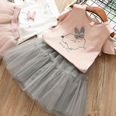 dedc8c42cebe 2Pcs Toddler Kids Baby Girl Bunny Tops +Tulle Tutu Skirt Outfits Clothes  1-6Yrs