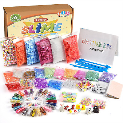 FEPITO 76 Packs Slime Accessories Kit Including Foam Beads, Fishbowl Wobbly...
