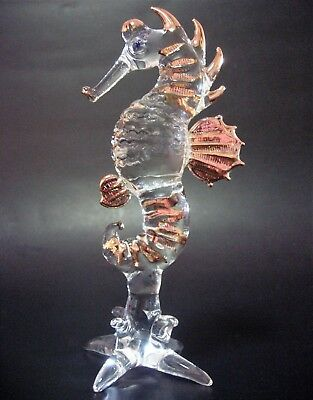 LARGE Glass SEAHORSE Gold Curio Display Figure Glass Animal Glass Ornament Gift