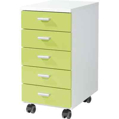 Germania Rolling Filing Cabinet White and Green Storage Container 4099-181