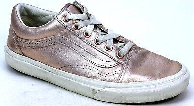 a698b0c12c Womens Vans Old Skool Metallic Rose Gold Leather Retro Skater Trainers Uk  Size 5