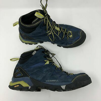 e1266c017cc MERRELL CAPRA MID Waterproof Boots Men's 8.5 Blue Suede Hiking Outdoor Lace  Up