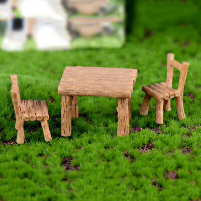 Wood Table Chairs Miniature Landscape Fairy Garden Dollhouse Decoration Z
