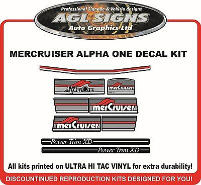 1984 - 1991 Mercury Alpha one Outdrive 9 Piece Reproduction Decals  Mercruiser